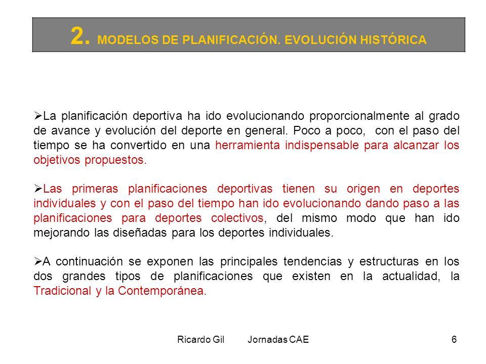 Ricardo Gil Jornadas CAE6 2. MODELOS DE PLANIFICACIÓN. EVOLUCIÓN HISTÓRICA La planificación deportiva ha ido evolucionando proporcionalmente al grado