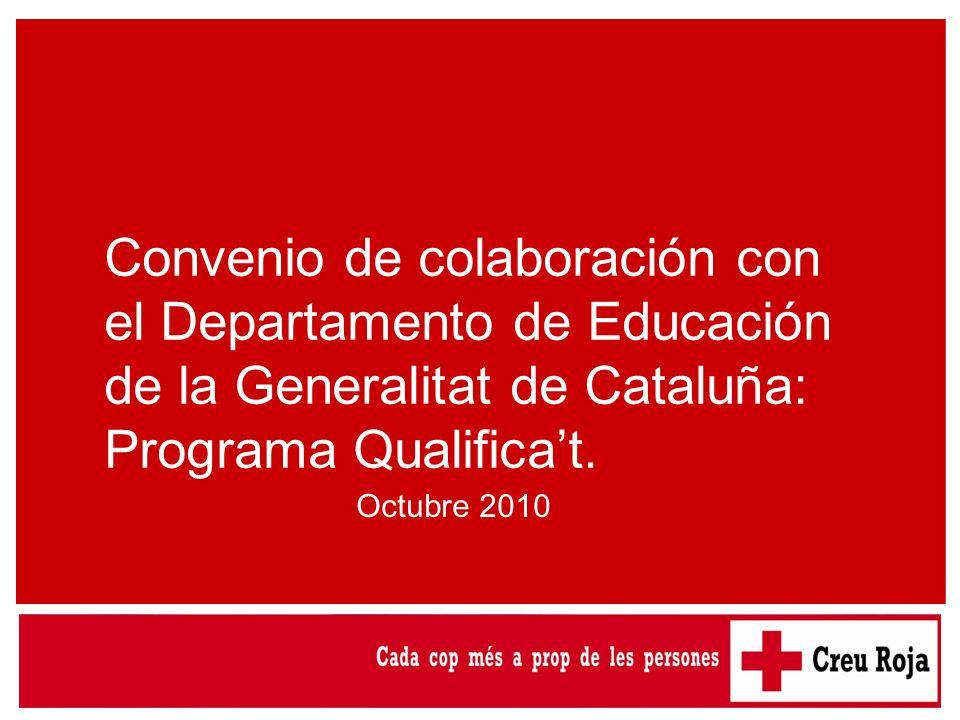 Convenio de colaboración con el Departamento de Educación de la Generalitat de Cataluña: Programa Qualificat. Octubre 2010