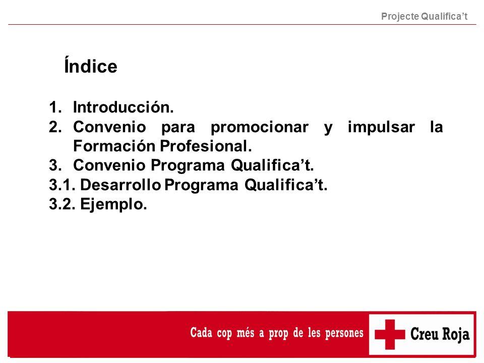 Índice Projecte Qualificat 1.Introducción. 2.Convenio para promocionar y impulsar la Formación Profesional. 3.Convenio Programa Qualificat. 3.1. Desar