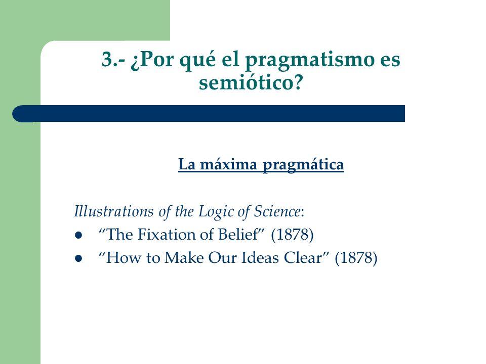 3.- ¿Por qué el pragmatismo es semiótico? La máxima pragmática Illustrations of the Logic of Science: The Fixation of Belief (1878) How to Make Our Id