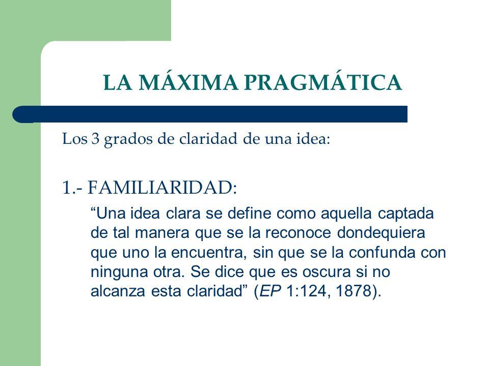 LA MÁXIMA PRAGMÁTICA Los 3 grados de claridad de una idea: 1.- FAMILIARIDAD: Una idea clara se define como aquella captada de tal manera que se la rec