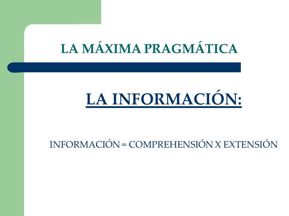 LA MÁXIMA PRAGMÁTICA LA INFORMACIÓN: INFORMACIÓN = COMPREHENSIÓN X EXTENSIÓN