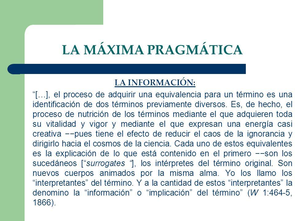LA MÁXIMA PRAGMÁTICA LA INFORMACIÓN: […], el proceso de adquirir una equivalencia para un término es una identificación de dos términos previamente di