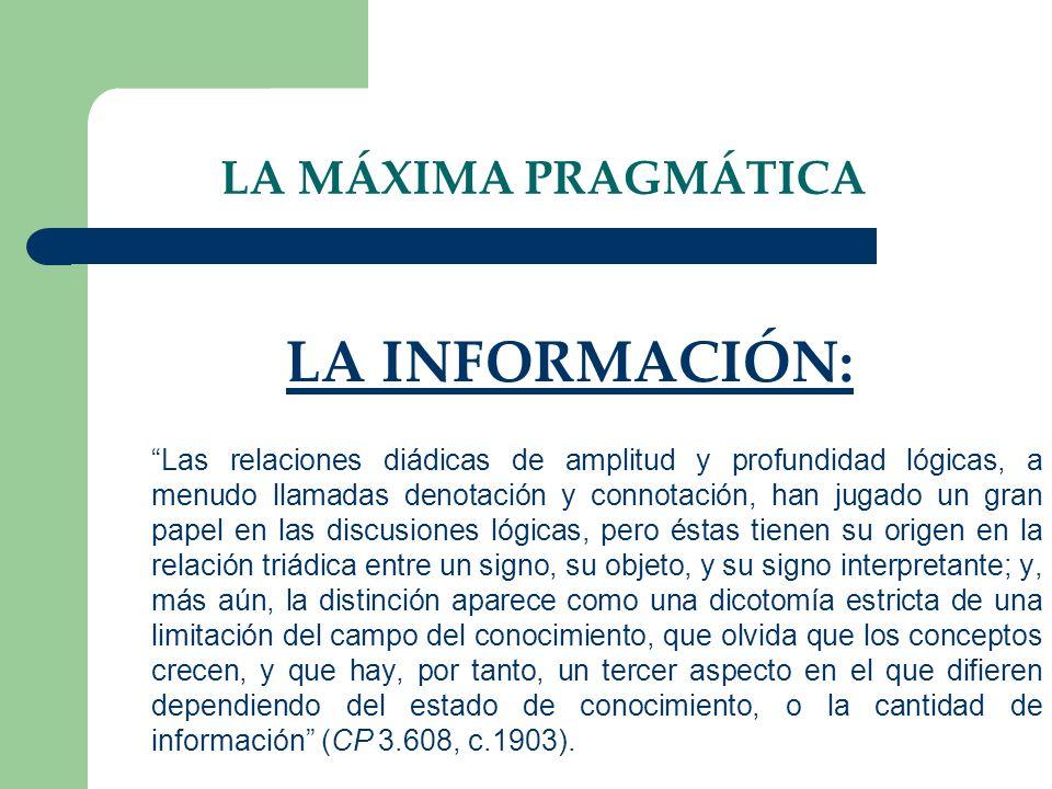 LA MÁXIMA PRAGMÁTICA LA INFORMACIÓN: Las relaciones diádicas de amplitud y profundidad lógicas, a menudo llamadas denotación y connotación, han jugado