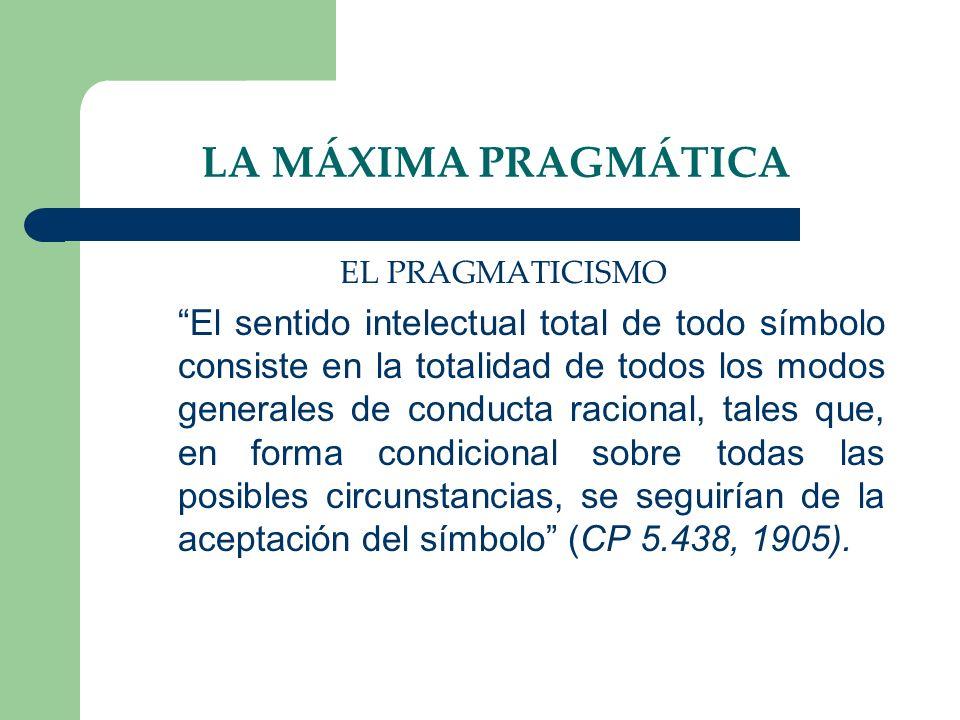 LA MÁXIMA PRAGMÁTICA EL PRAGMATICISMO El sentido intelectual total de todo símbolo consiste en la totalidad de todos los modos generales de conducta r