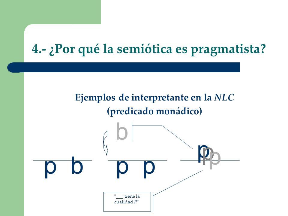 p 4.- ¿Por qué la semiótica es pragmatista? Ejemplos de interpretante en la NLC (predicado monádico) p b p p b p p ___ tiene la cualidad P