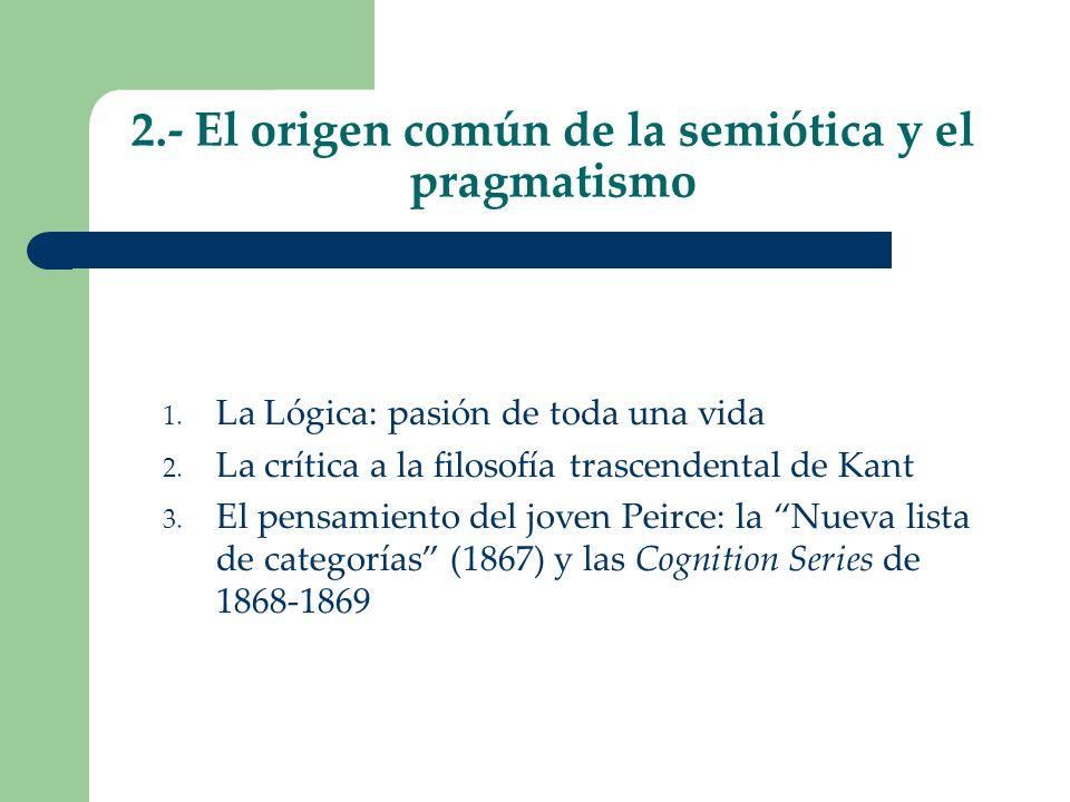 2.- El origen común de la semiótica y el pragmatismo 1. La Lógica: pasión de toda una vida 2. La crítica a la filosofía trascendental de Kant 3. El pe