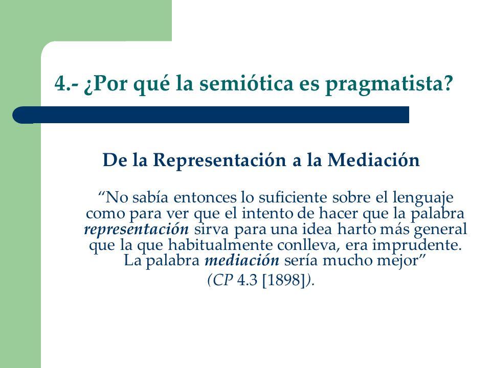 4.- ¿Por qué la semiótica es pragmatista? De la Representación a la Mediación No sabía entonces lo suficiente sobre el lenguaje como para ver que el i