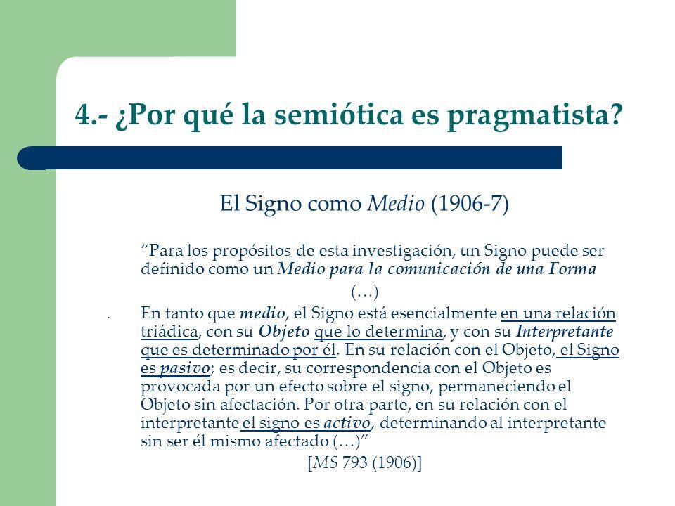 4.- ¿Por qué la semiótica es pragmatista? El Signo como Medio (1906-7) Para los propósitos de esta investigación, un Signo puede ser definido como un