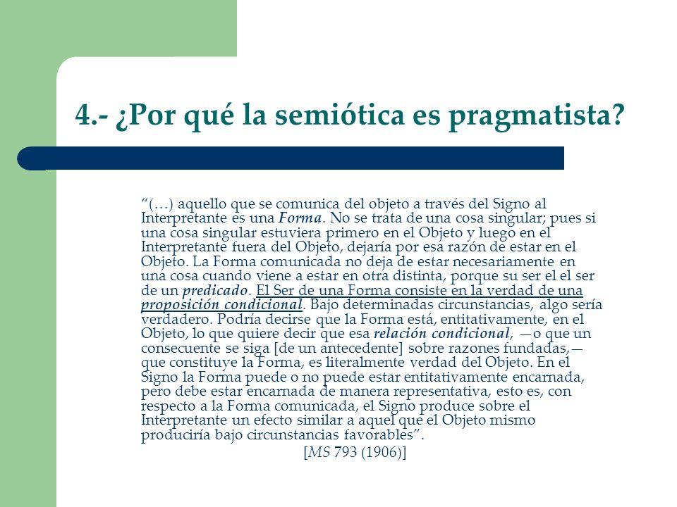 4.- ¿Por qué la semiótica es pragmatista? (…) aquello que se comunica del objeto a través del Signo al Interpretante es una Forma. No se trata de una