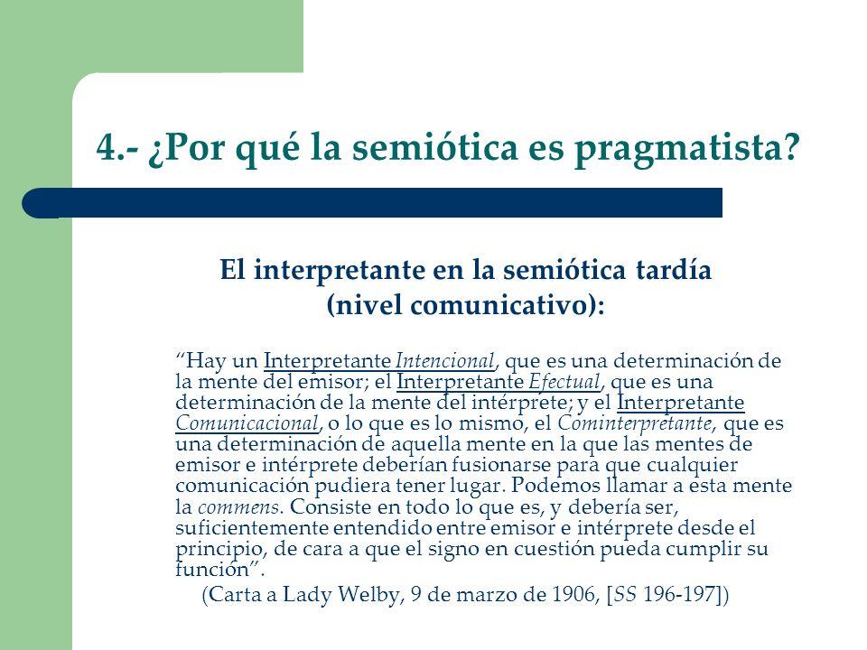 4.- ¿Por qué la semiótica es pragmatista? El interpretante en la semiótica tardía (nivel comunicativo): Hay un Interpretante Intencional, que es una d