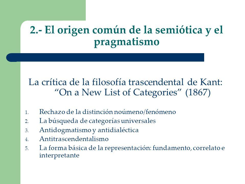 2.- El origen común de la semiótica y el pragmatismo La crítica de la filosofía trascendental de Kant: On a New List of Categories (1867) 1. Rechazo d