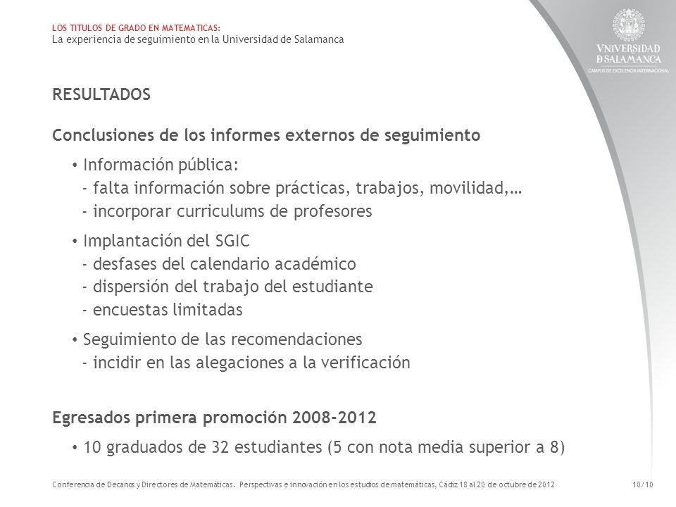 RESULTADOS Conclusiones de los informes externos de seguimiento Información pública: - falta información sobre prácticas, trabajos, movilidad,… - inco