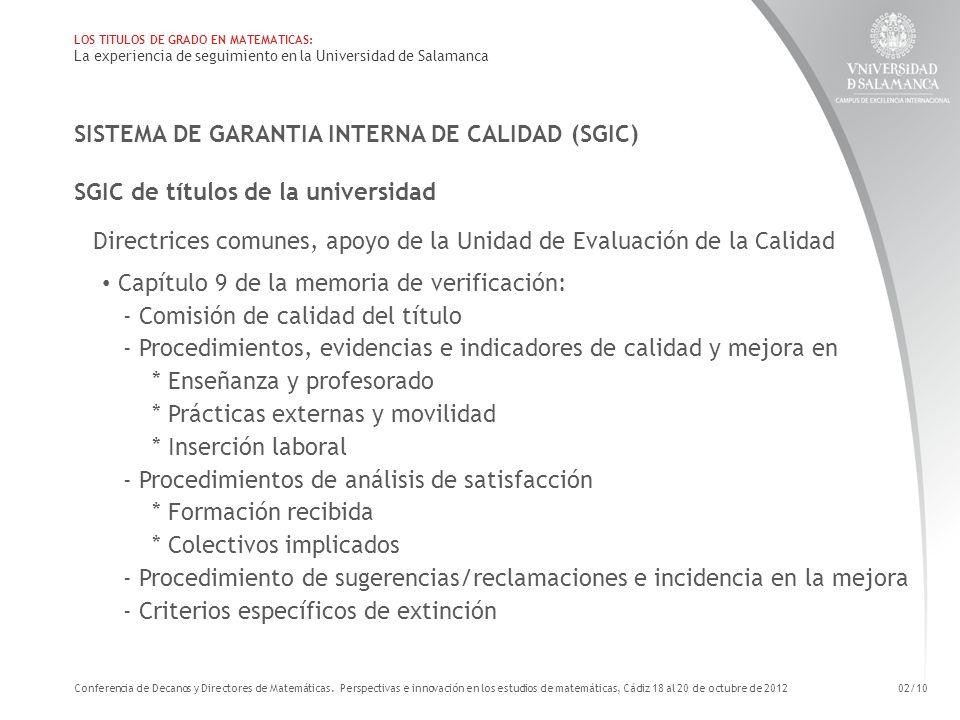 SISTEMA DE GARANTIA INTERNA DE CALIDAD (SGIC) SGIC de títulos de la universidad Directrices comunes, apoyo de la Unidad de Evaluación de la Calidad Ca
