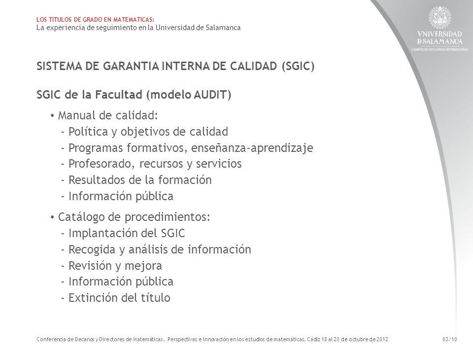 SISTEMA DE GARANTIA INTERNA DE CALIDAD (SGIC) SGIC de la Facultad (modelo AUDIT) Manual de calidad: - Política y objetivos de calidad - Programas form