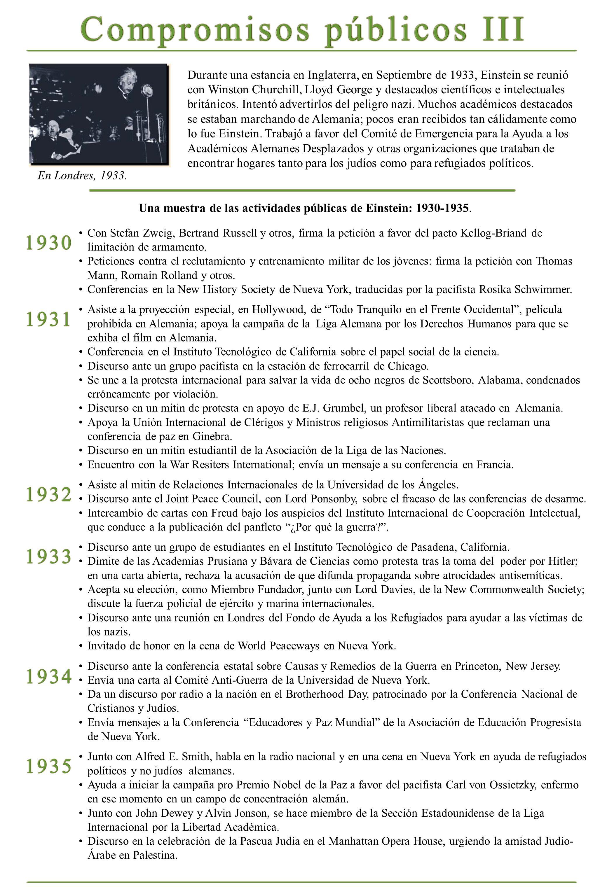 Una muestra de las actividades públicas de Einstein: 1930-1935. En Londres, 1933. Durante una estancia en Inglaterra, en Septiembre de 1933, Einstein