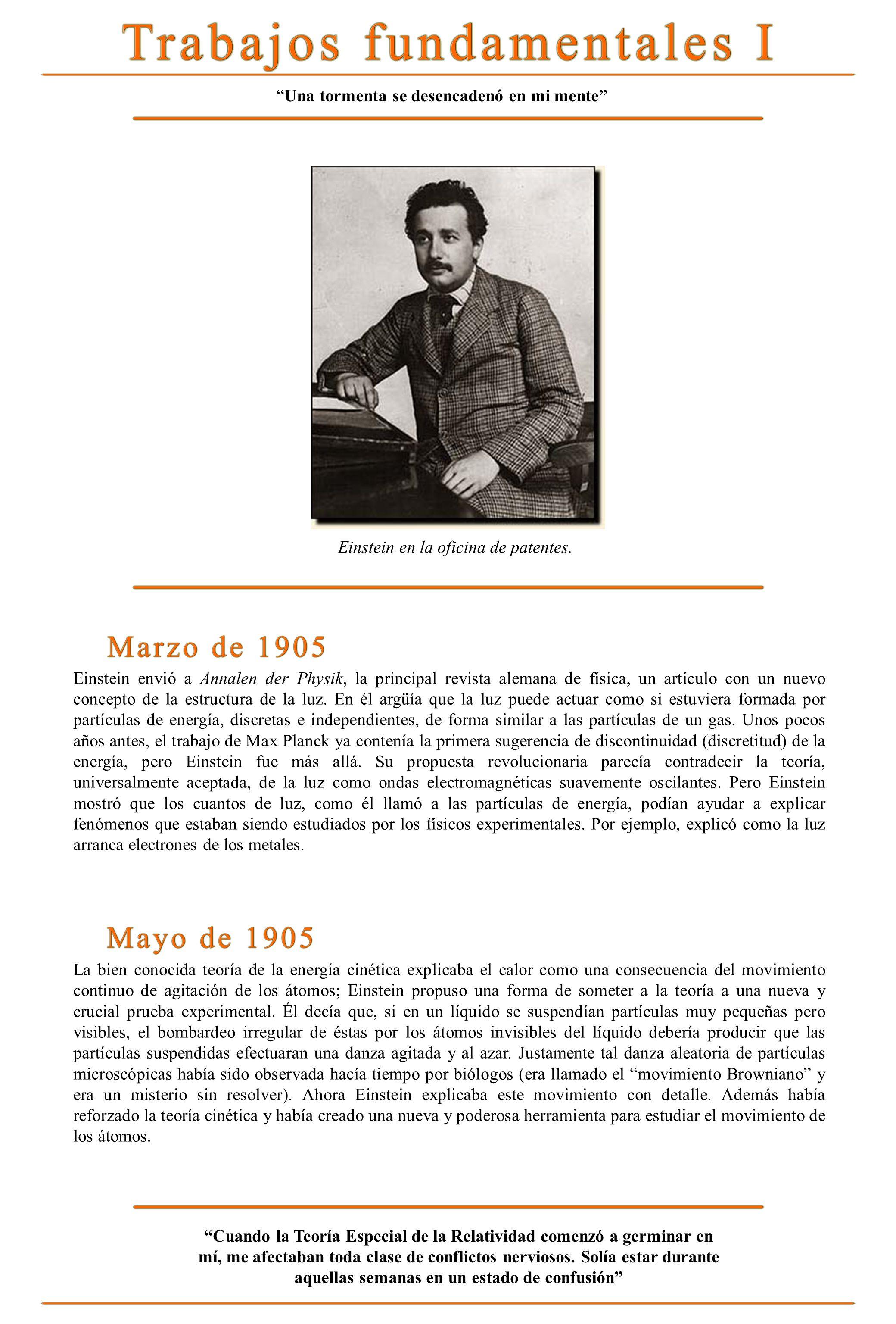 Einstein envió a Annalen der Physik, la principal revista alemana de física, un artículo con un nuevo concepto de la estructura de la luz. En él argüí