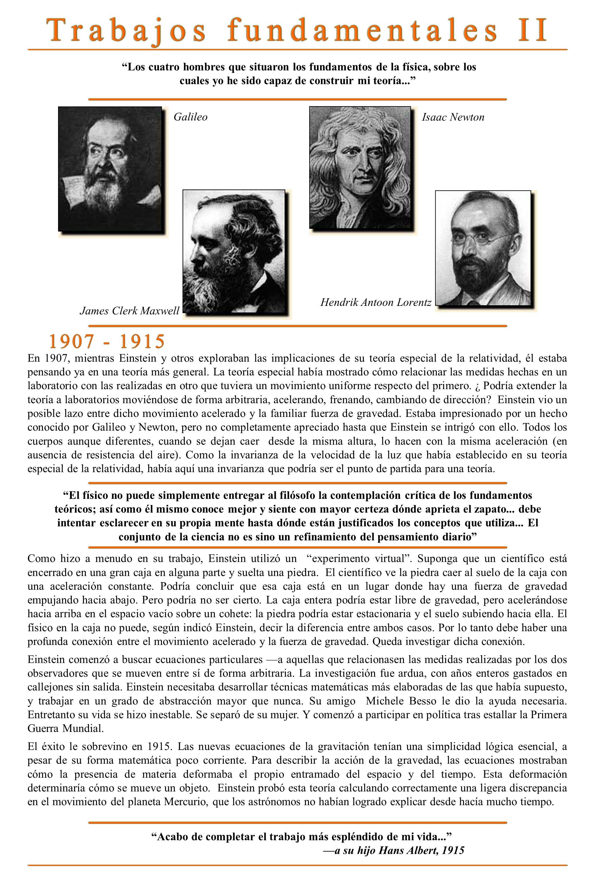 Los cuatro hombres que situaron los fundamentos de la física, sobre los cuales yo he sido capaz de construir mi teoría... Galileo Isaac Newton Hendrik