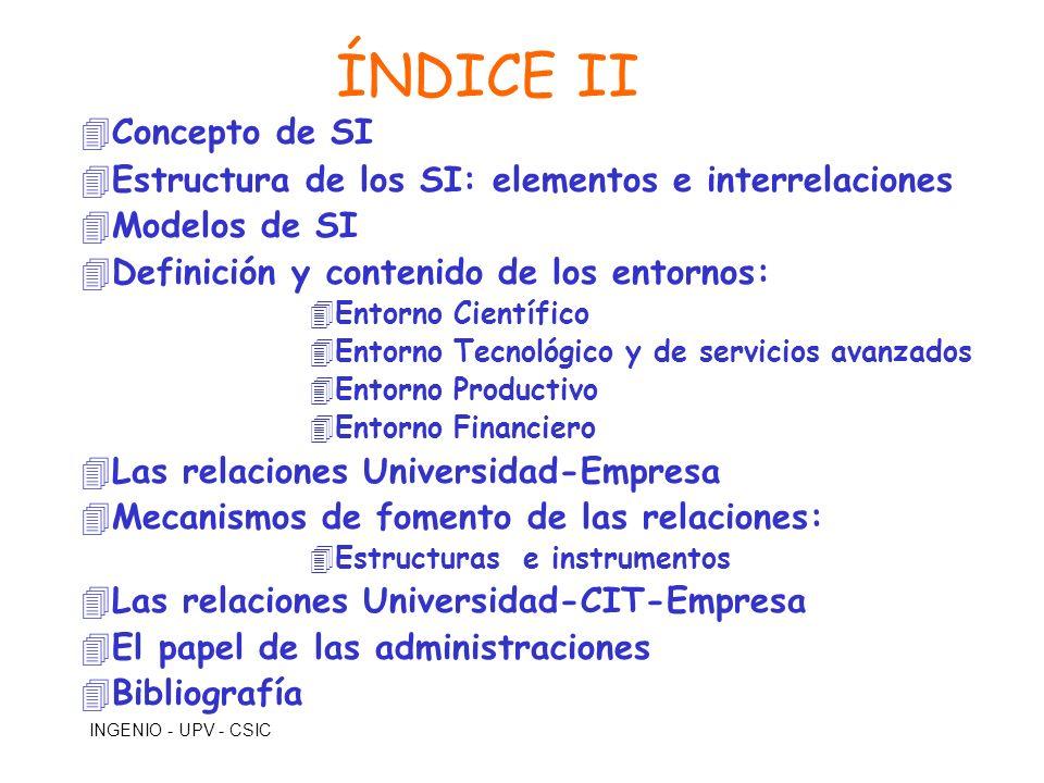 INGENIO - UPV - CSIC ÍNDICE II 4Concepto de SI 4Estructura de los SI: elementos e interrelaciones 4Modelos de SI 4Definición y contenido de los entorn