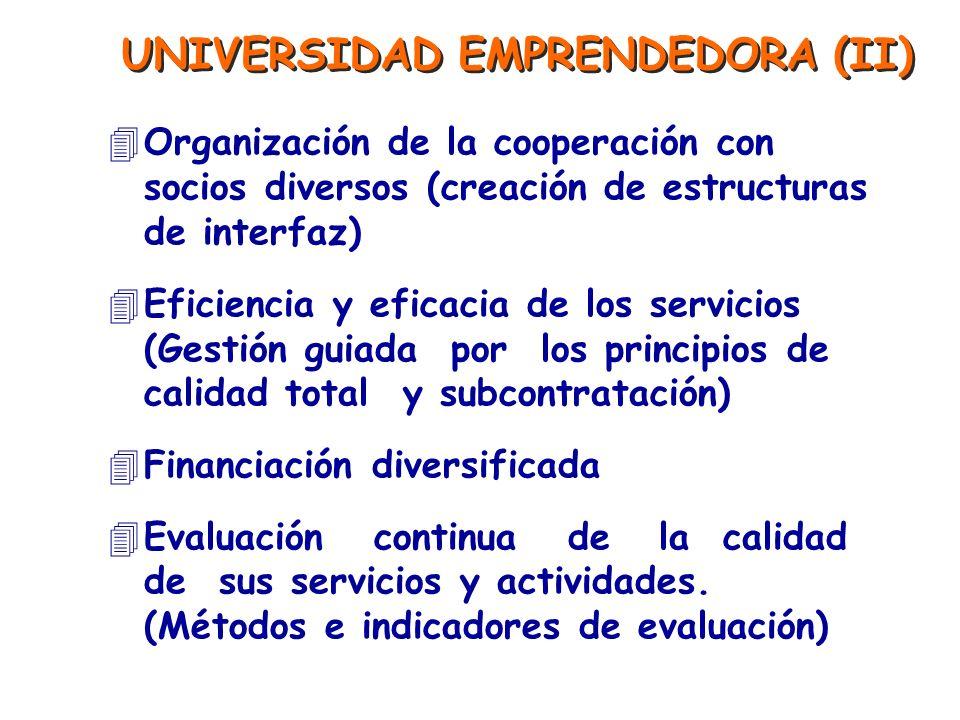 UNIVERSIDAD EMPRENDEDORA (II) 4Organización de la cooperación con socios diversos (creación de estructuras de interfaz) 4Eficiencia y eficacia de los