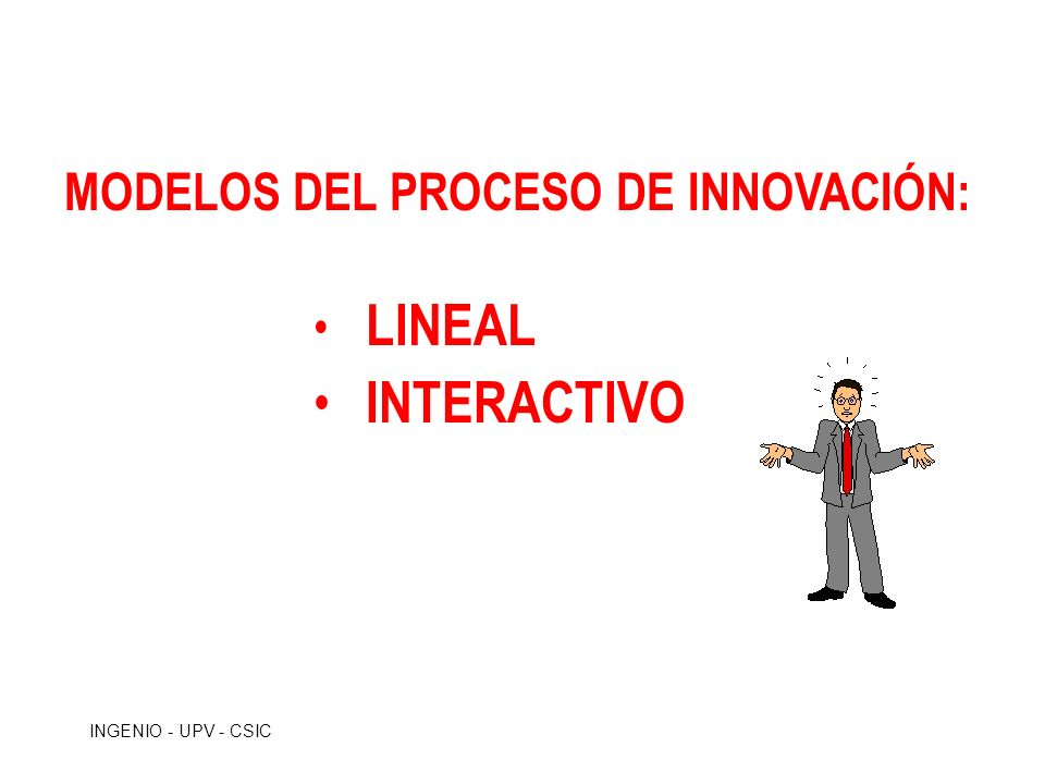 INGENIO - UPV - CSIC MODELO LINEAL DEL PROCESO DE INNOVACIÓN MODELO LINEAL DEL PROCESO DE INNOVACIÓN I BÁSICA I APLICADA DESARROLLO PRODUCCIÓN COMERCIALIZACIÓN MERCADO