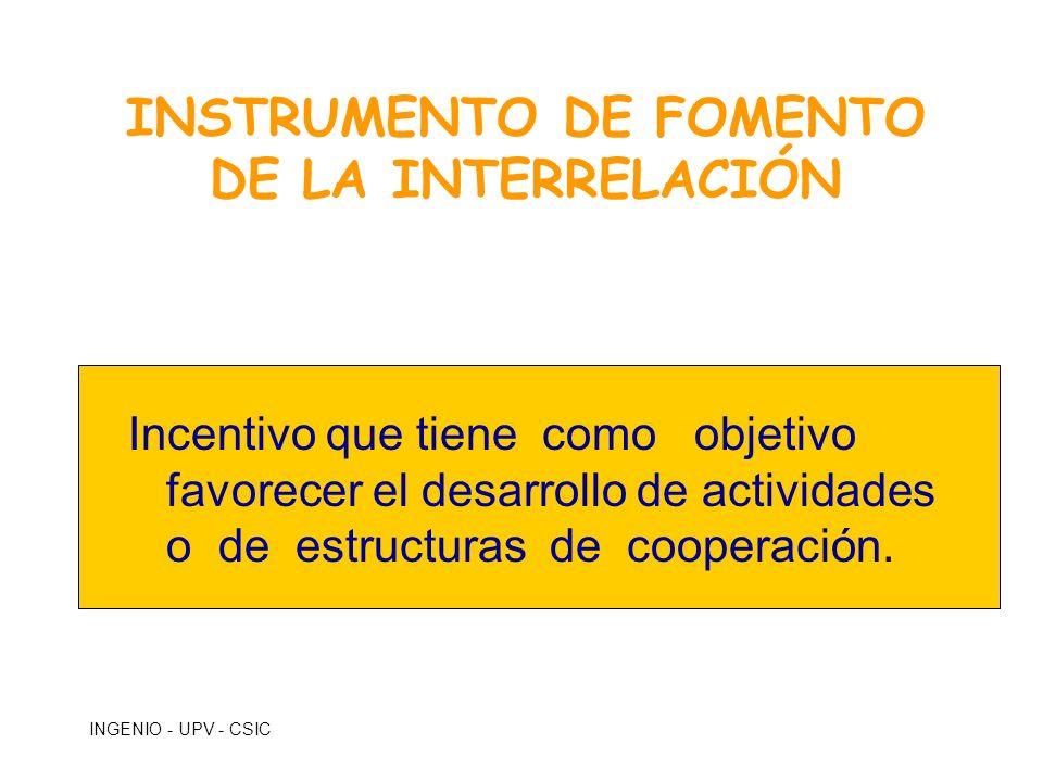 INGENIO - UPV - CSIC INSTRUMENTO DE FOMENTO DE LA INTERRELACIÓN Incentivo que tiene como objetivo favorecer el desarrollo de actividades o de estructu