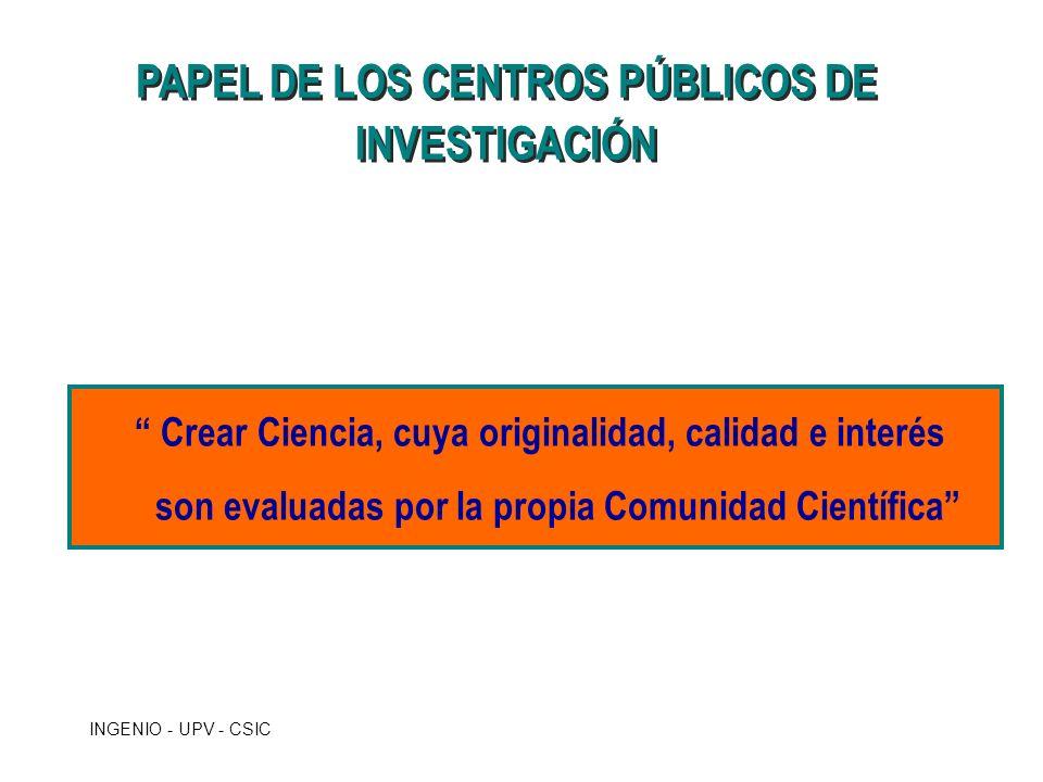 INGENIO - UPV - CSIC PAPEL DE LOS CENTROS PÚBLICOS DE INVESTIGACIÓN Crear Ciencia, cuya originalidad, calidad e interés son evaluadas por la propia Co