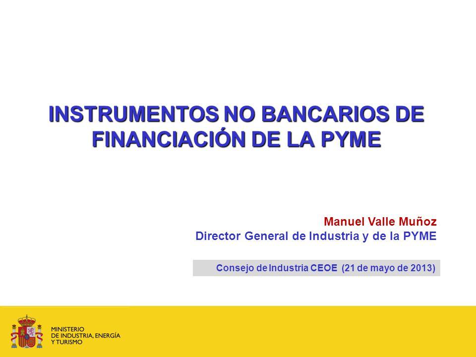 INSTRUMENTOS NO BANCARIOS DE FINANCIACIÓN DE LA PYME Consejo de Industria CEOE (21 de mayo de 2013) Manuel Valle Muñoz Director General de Industria y