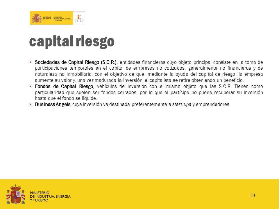 www.enisa.es capital riesgo Sociedades de Capital Riesgo (S.C.R.), entidades financieras cuyo objeto principal consiste en la toma de participaciones