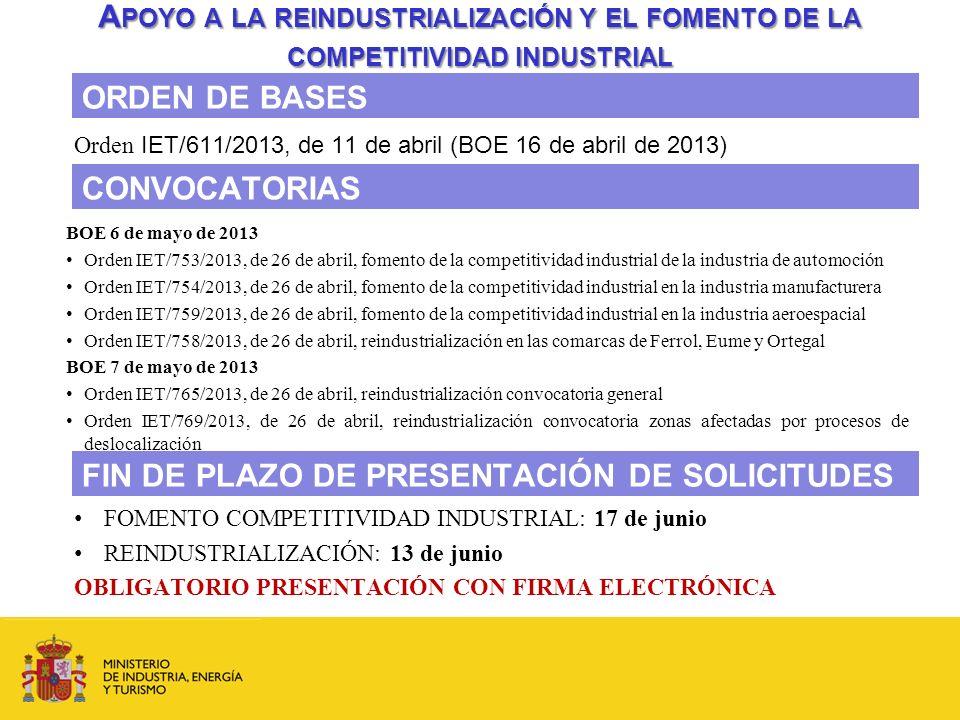 A POYO A LA REINDUSTRIALIZACIÓN Y EL FOMENTO DE LA COMPETITIVIDAD INDUSTRIAL Orden IET/611/2013, de 11 de abril (BOE 16 de abril de 2013) ORDEN DE BAS