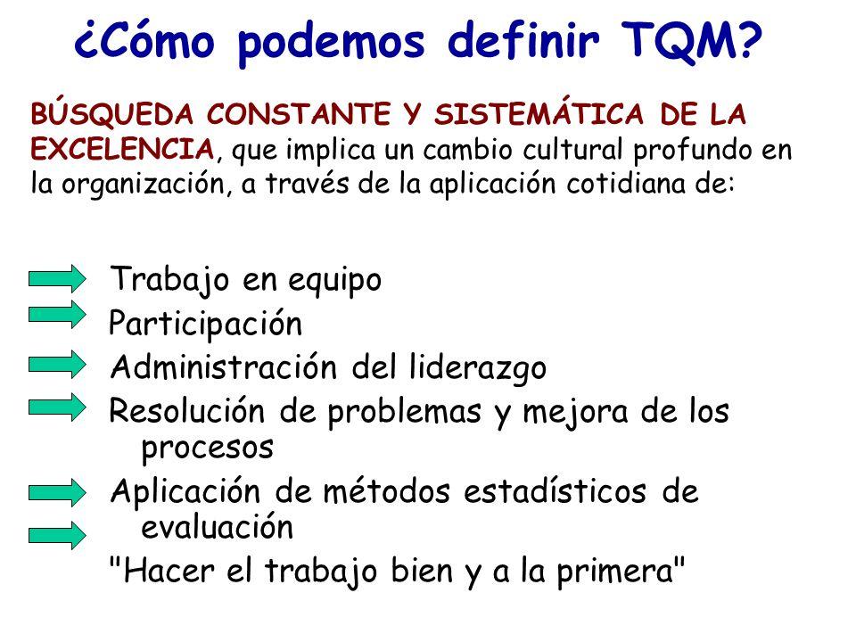 ¿Cómo podemos definir TQM? Trabajo en equipo Participación Administración del liderazgo Resolución de problemas y mejora de los procesos Aplicación de