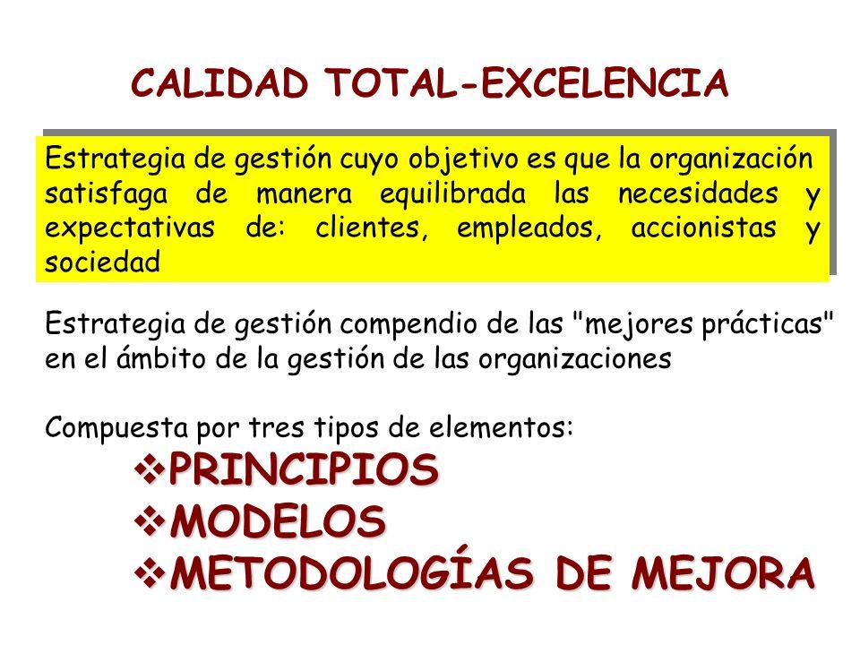 CALIDAD TOTAL-EXCELENCIA Estrategia de gestión cuyo objetivo es que la organización satisfaga de manera equilibrada las necesidades y expectativas de: