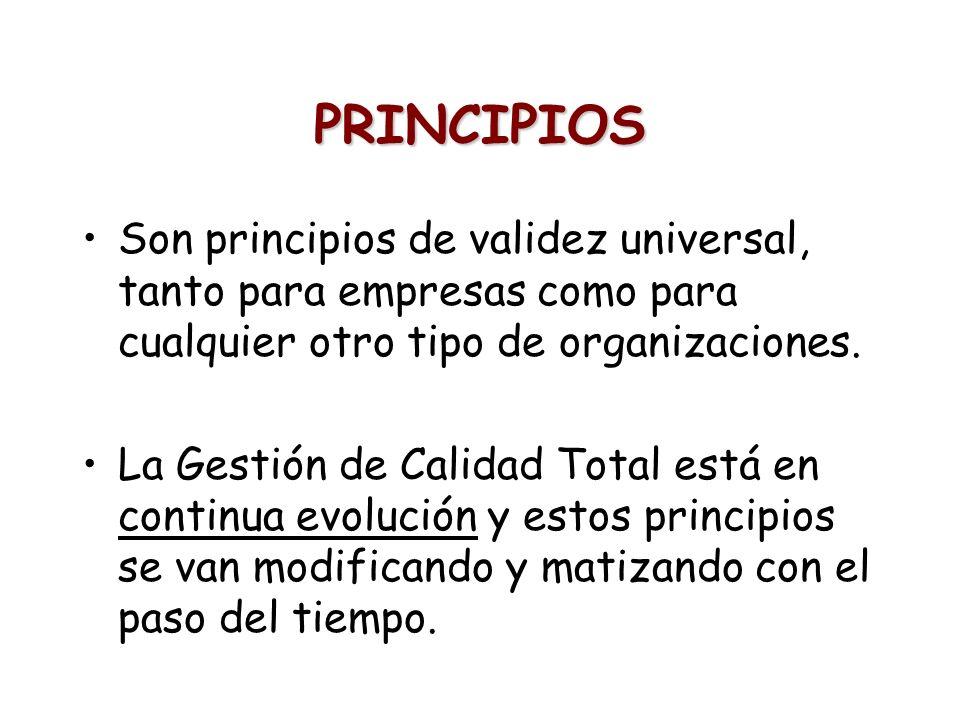 PRINCIPIOS Son principios de validez universal, tanto para empresas como para cualquier otro tipo de organizaciones. La Gestión de Calidad Total está