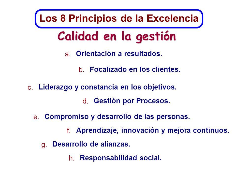 Los 8 Principios de la Excelencia a. Orientación a resultados. b. Focalizado en los clientes. c. Liderazgo y constancia en los objetivos. d. Gestión p