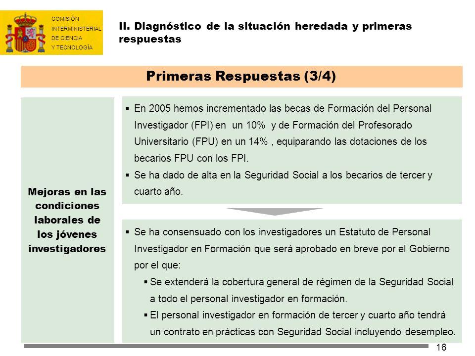 COMISIÓN INTERMINISTERIAL DE CIENCIA Y TECNOLOGÍA 16 II. Diagnóstico de la situación heredada y primeras respuestas Primeras Respuestas (3/4) En 2005
