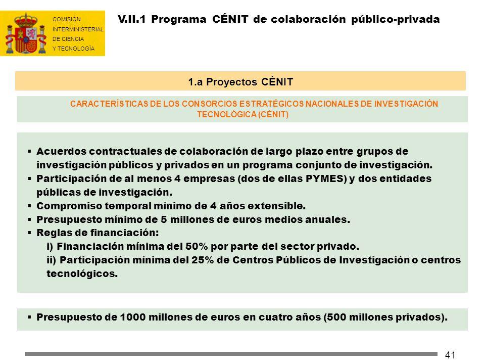 COMISIÓN INTERMINISTERIAL DE CIENCIA Y TECNOLOGÍA 41 V.II.1 Programa CÉNIT de colaboración público-privada Acuerdos contractuales de colaboración de l