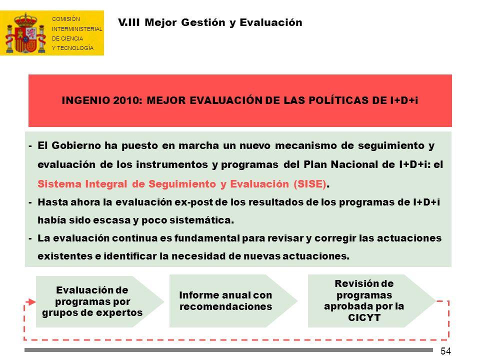 COMISIÓN INTERMINISTERIAL DE CIENCIA Y TECNOLOGÍA 54 -El Gobierno ha puesto en marcha un nuevo mecanismo de seguimiento y evaluación de los instrument