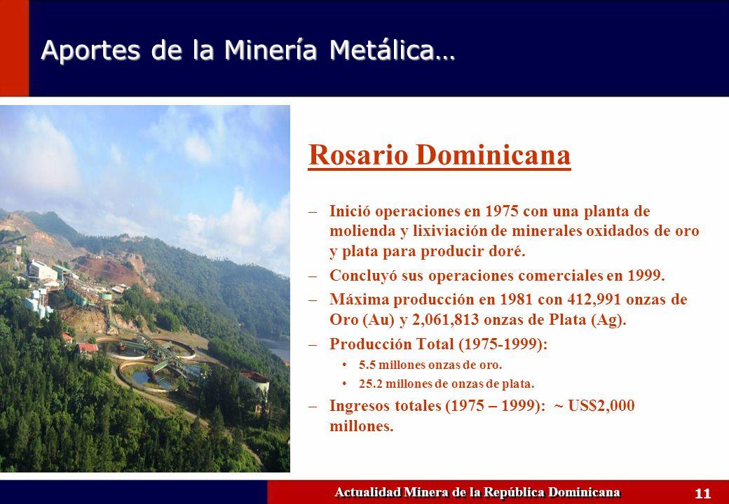 11 Actualidad Minera de la República Dominicana Rosario Dominicana –Inició operaciones en 1975 con una planta de molienda y lixiviación de minerales o