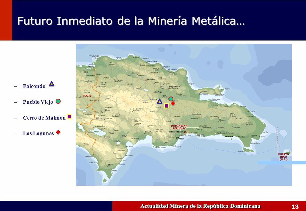 13 Actualidad Minera de la República Dominicana Futuro Inmediato de la Minería Metálica… –Falcondo –Pueblo Viejo –Cerro de Maimón –Las Lagunas