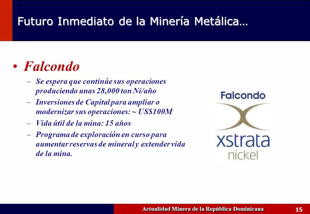 15 Falcondo –Se espera que continúe sus operaciones produciendo unas 28,000 ton Ni/año –Inversiones de Capital para ampliar o modernizar sus operacion