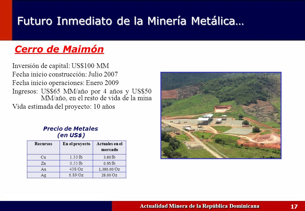 17 Inversión de capital: US$100 MM Fecha inicio construcción: Julio 2007 Fecha inicio operaciones: Enero 2009 Ingresos: US$65 MM/año por 4 años y US$5