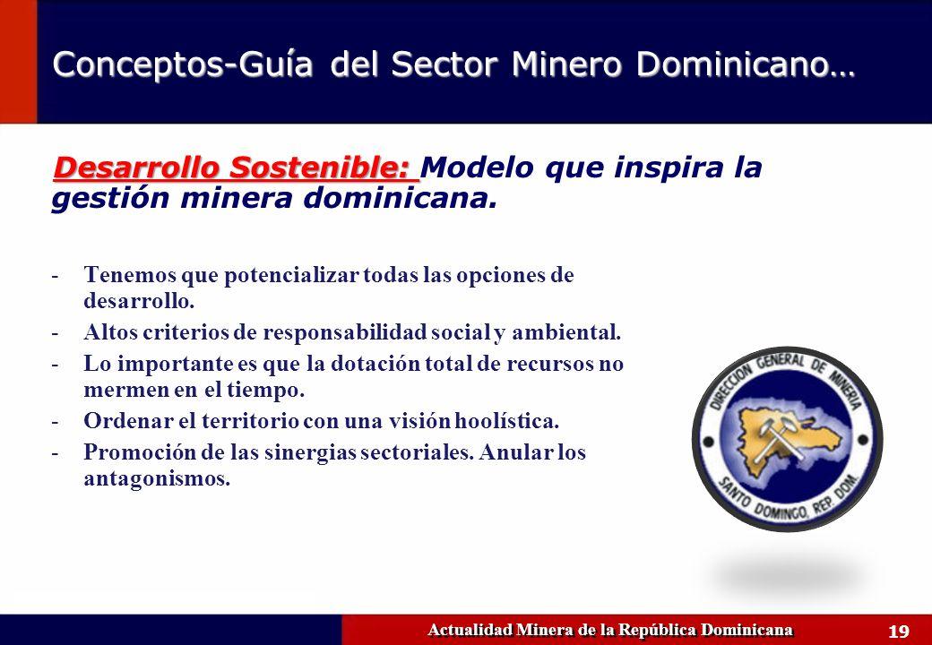19 Actualidad Minera de la República Dominicana Conceptos-Guía del Sector Minero Dominicano… -Tenemos que potencializar todas las opciones de desarrol