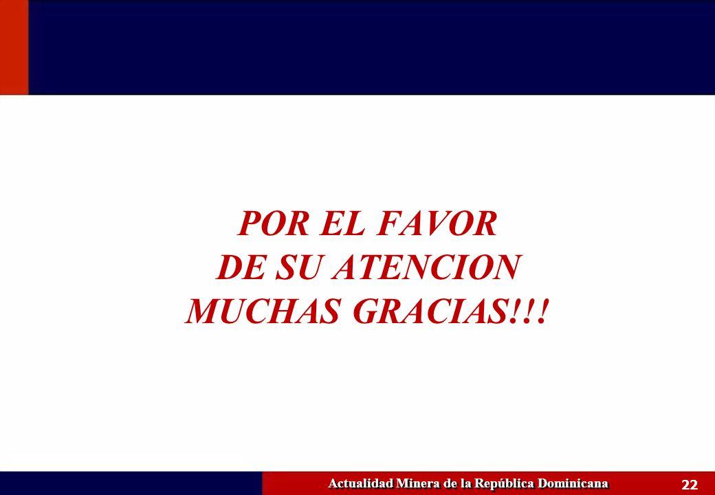 22 Actualidad Minera de la República Dominicana POR EL FAVOR DE SU ATENCION MUCHAS GRACIAS!!!