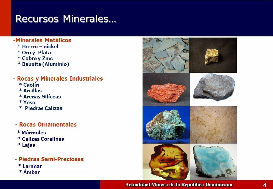 4 Recursos Minerales… Actualidad Minera de la República Dominicana -Minerales Metálicos * Hierro – níckel * Oro y Plata * Cobre y Zinc * Bauxita (Alum
