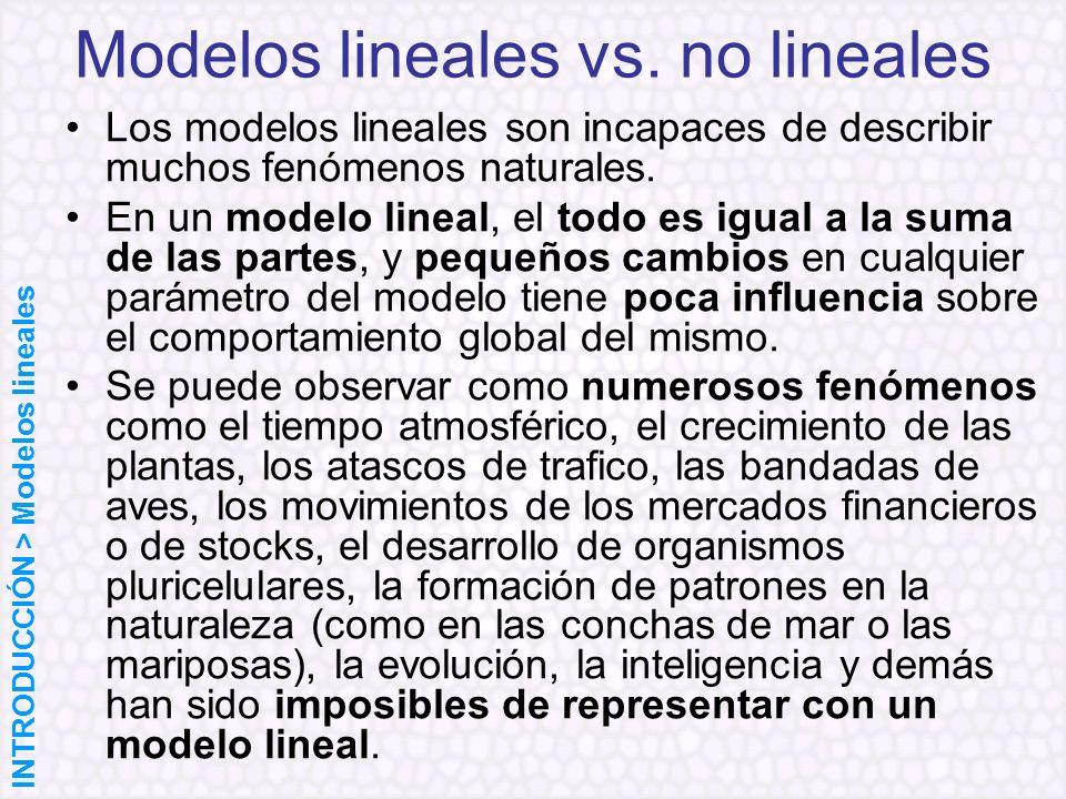 Los modelos lineales son incapaces de describir muchos fenómenos naturales. En un modelo lineal, el todo es igual a la suma de las partes, y pequeños