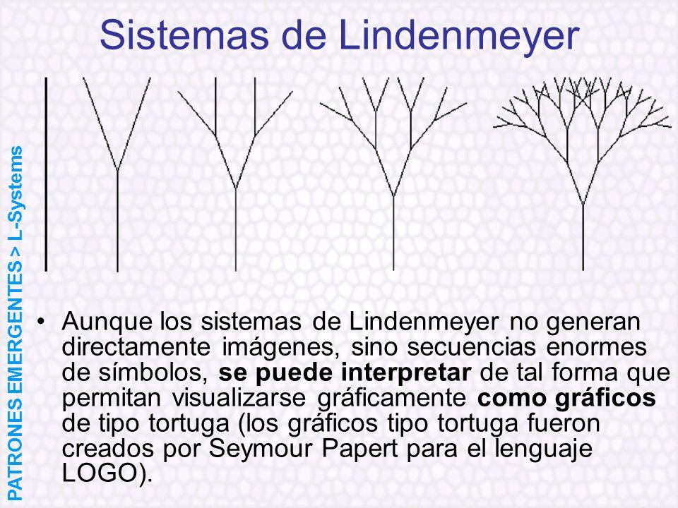 Sistemas de Lindenmeyer Aunque los sistemas de Lindenmeyer no generan directamente imágenes, sino secuencias enormes de símbolos, se puede interpretar