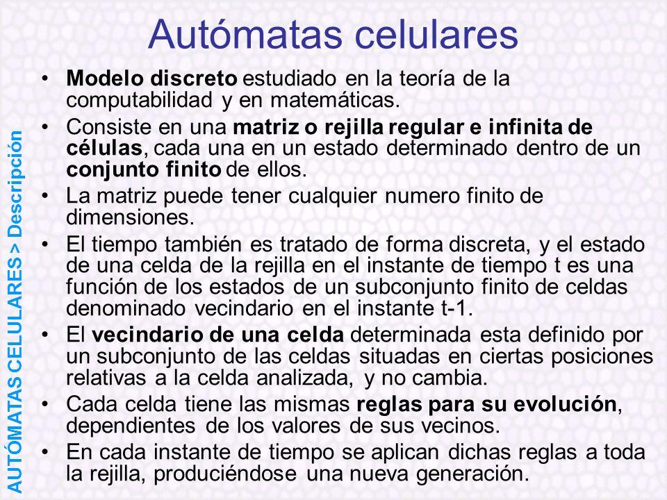 Modelo discreto estudiado en la teoría de la computabilidad y en matemáticas. Consiste en una matriz o rejilla regular e infinita de células, cada una