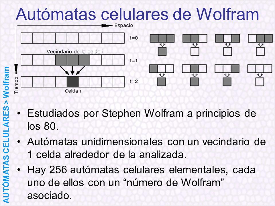 Autómatas celulares de Wolfram Estudiados por Stephen Wolfram a principios de los 80. Autómatas unidimensionales con un vecindario de 1 celda alrededo