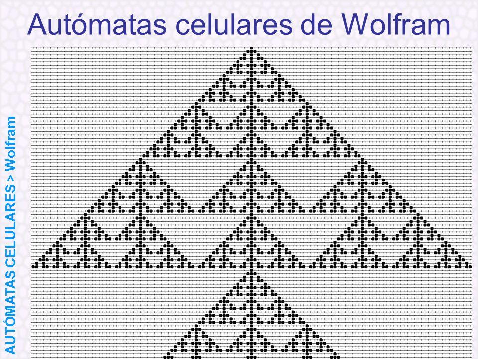 Autómatas celulares de Wolfram AUTÓMATAS CELULARES > Wolfram