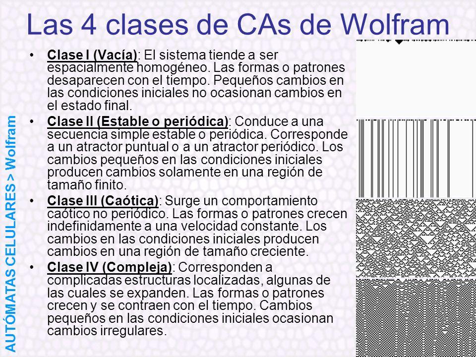 Las 4 clases de CAs de Wolfram Clase I (Vacía): El sistema tiende a ser espacialmente homogéneo. Las formas o patrones desaparecen con el tiempo. Pequ